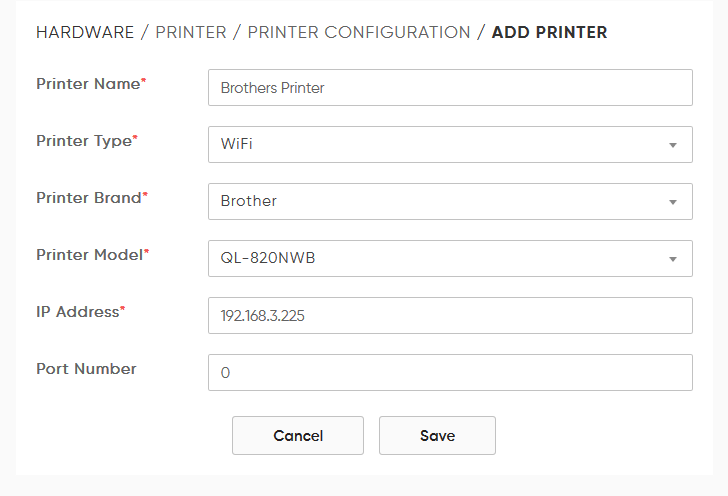 brother printer configuration with vms